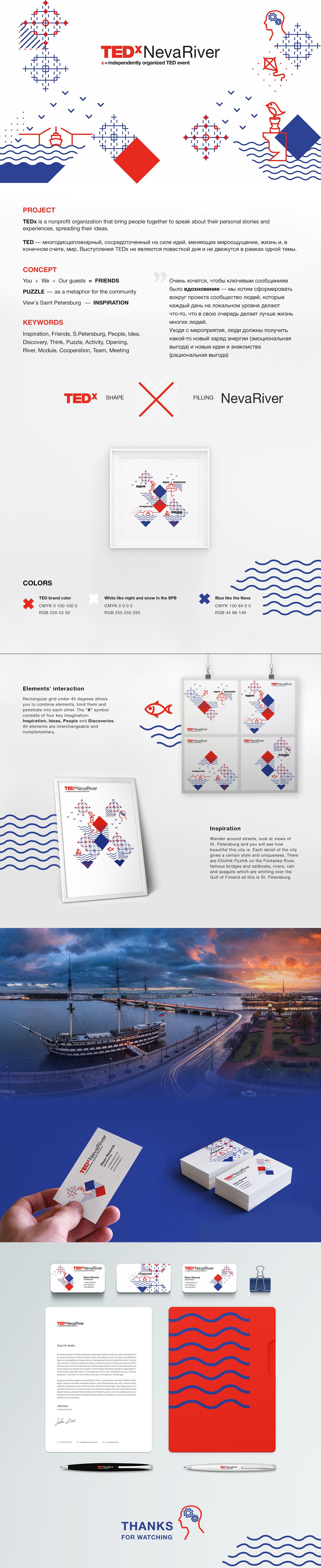 Дизайн брендинга и фирменного стиля TEDx NevaRiver