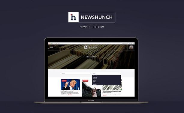 Дизайн новостного портала Newshunch