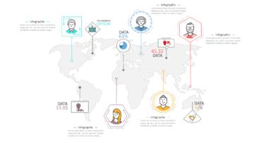 Шаблон презентации с инфографикой в тонких линиях